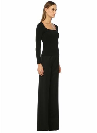 Beymen Collection Yüksek Bel Bol Paça Yün Pantolon Siyah